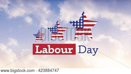 American flag on three stars and happy labor day text against clouds in blue sky. american labor day template background design concept