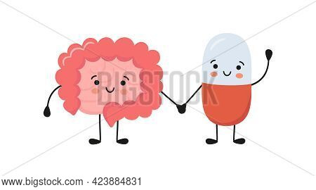 Healthy Intestine And Happy Smiling Medicine Pill Characters Hold Hands. Kawaii Probiotics Capsule A