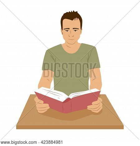 Man Sitting At A Desk And Read Book . Education And Self-development Hobby Concept. Lesson In School