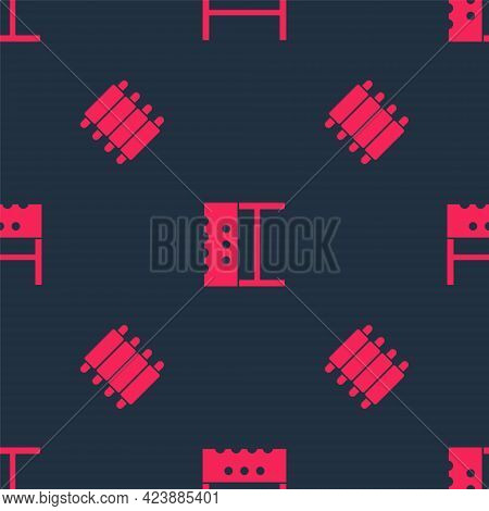 Set Grilled Pork Bbq Ribs And Bbq Brazier On Seamless Pattern. Vector