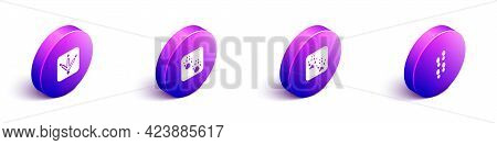 Set Isometric Chicken Paw Footprint, Paw, Fox And Human Footprints Shoes Icon. Vector