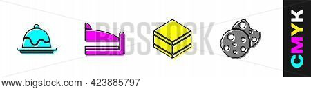Set Cake, Piece Of Cake, Brownie Chocolate And Cookie Or Biscuit Icon. Vector