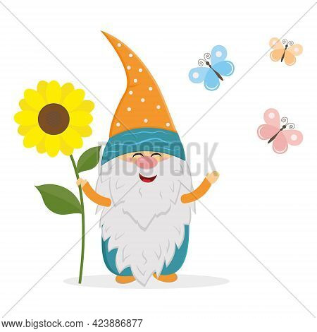 Funny Dwarf Holding A Large Sunflower On A Background Of Butterflies, Vector Isolated Illustration I