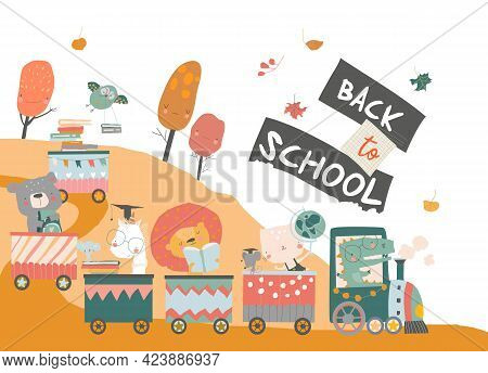 Happy Cartoon Animals Traveling To The School By Train