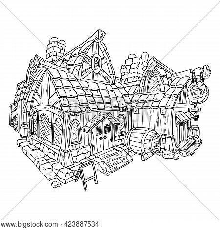 Coloring Page Tavern Cartoon Image. Comic Style Hut For Rpg Adventures. Black Outline Lineart Vector