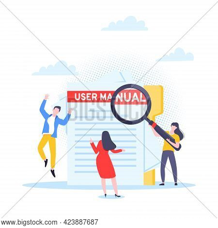 User Manual Guide Book Flat Style Design Vector Illustration. Tiny People, Magnifying Glass Working