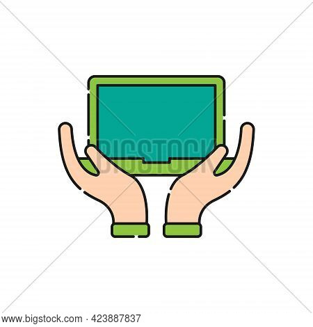 Laptop with Hand icon. Laptop icon. Laptop vector. Laptop icon vector. Laptop screen icon. Laptop Computer icon. Laptop icon logo template. Laptop symbol. Laptop sign. Laptop with Hand vector icon design for website, logo, sign, symbol, app