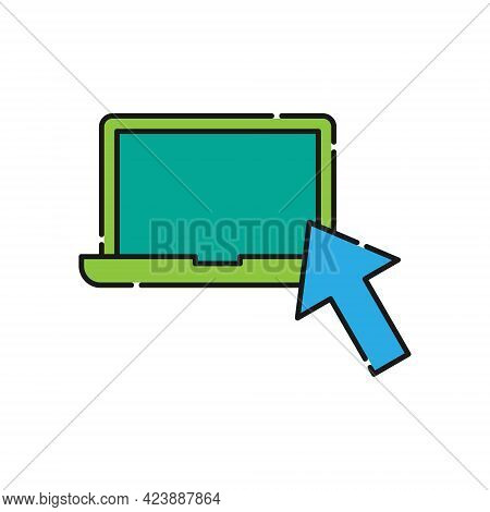 Laptop with arrow icon. Laptop icon. Laptop vector. Laptop icon vector. Laptop screen icon. Laptop Computer icon. Laptop icon logo template. Laptop symbol. Laptop sign. Laptop with arrow vector icon design for website, logo, sign, symbol, app