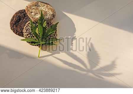 Marijuana Leaf And Sweets On White Background. Cannabis Flowers And Cookies Close Up. Illuminated By