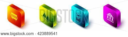 Set Isometric Censored Stamp, Burning Car, Graduate And Graduation Cap And Courthouse Building Icon.