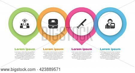 Set Spy, Agent, Vote Box, Police Rubber Baton And Officer. Business Infographic Template. Vector