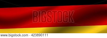Banner With The Flag Of Germany. Fabric Texture Of The Flag Of Germany.