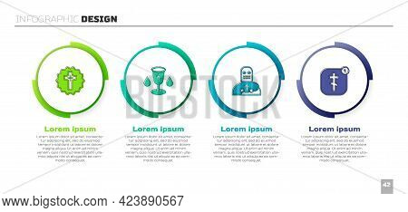Set Christian Cross, Chalice, Knight Crusader And Online Church Pastor Preaching. Business Infograph