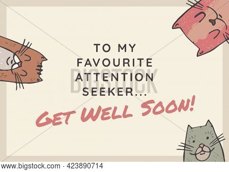 Composition of well wishes text with illustration of cats. get well wishes and communication concept digitally generated image.