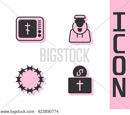Set Donation For Church, Online Pastor Preaching, Crown Of Thorns And Monk Icon. Vector