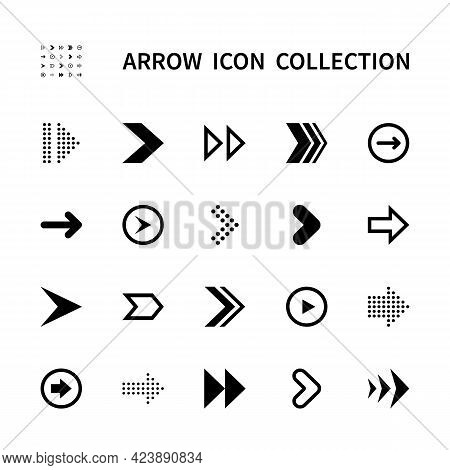 Arrows Vector Icons Set. Isolated Arrow Icon Collection On White Background. Black Arrows Symbol Vec