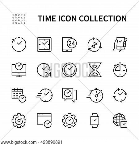 Time Management. Isolated Collection Of Time Icon On White Background. Time And Clock Symbol Vector
