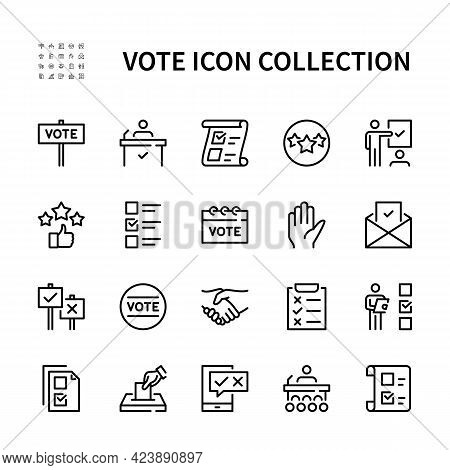 Voting And Election Vector Line Icons. Isolated Icons Collection Voting On White Background. Electio