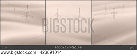 Transmission Tower. Foggy Clouds. Abstract Fog Waves. Urban Landscape