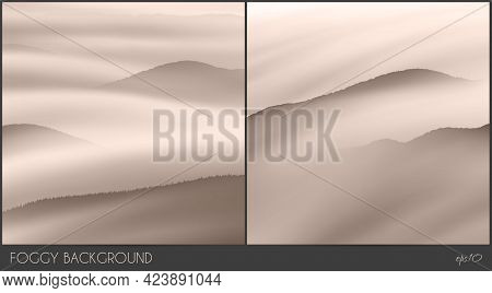 Hill Range. Foggy Clouds. Mountain In Morning Fog. Natural Landscape