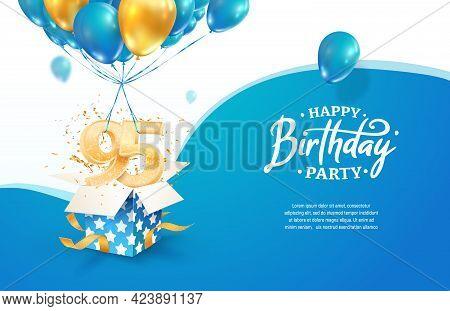 Celebrating 95th Years Birthday Vector Illustration. Ninety Five Anniversary Celebration. Adult Birt