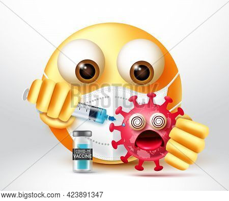 Emoji Covid-19 Vaccine Vector Design. Emoticons 3d Character Killing Virus By Injecting Vaccine For