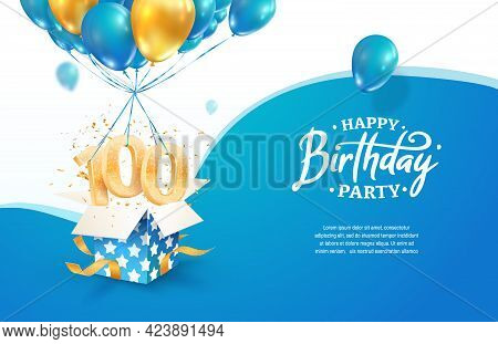 Celebrating 100th Years Birthday Vector Illustration. One Hundred Anniversary Celebration. Adult Bir