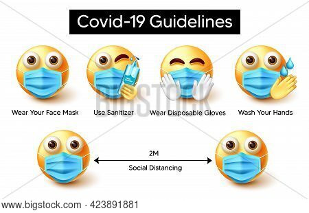 Covid-19 Guidelines Emoji Vector Design. Covid-19 Guidelines Text With 3d Characters Wearing Face Ma
