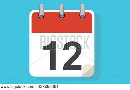 Day Twelve. Simple Calendar With Date 12. Flat Calendar Icon Vector Illustration. Calendar Icon Flat