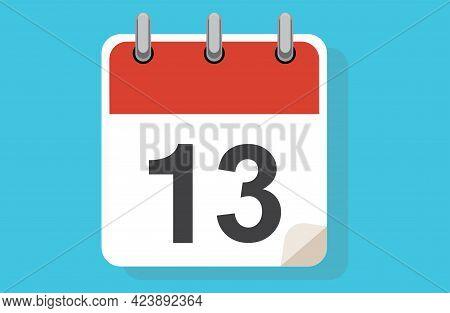 Day Thirteen. Simple Calendar With Date 13. Flat Calendar Icon Vector Illustration. Calendar Icon Fl