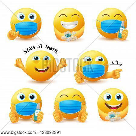 Covid-19 Guidelines Emoji Vector Set. Emoticon 3d Characters In Covid Safety Guidelines Like Wearing