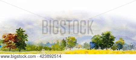 Watercolor Landscape Painting Panorama Colorful Of Natural Beauty Rice Field Trees And Farm Forest W