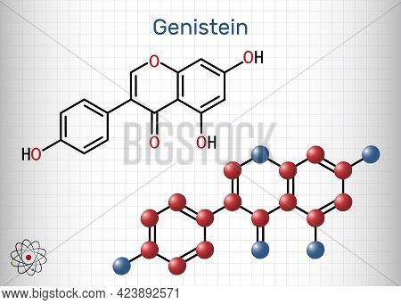 Genistein Molecule. It Is Phytoestrogen, Plant Metabolite, Isoflavone Extract From Soy With Antioxid