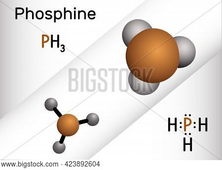 Phosphine, Phosphane, Ph3 Molecule. It Is Pnictogen Hydride, Insecticide, Used In Manufacture Of Fla