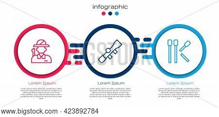 Set Line Hunter, Sniper Optical Sight And Matches. Business Infographic Template. Vector