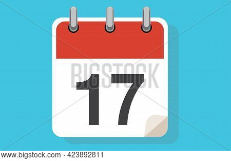 Day Seventeen. Simple Calendar With Date 17. Flat Calendar Icon Vector Illustration. Calendar Icon F
