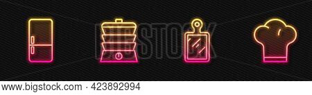 Set Line Cutting Board, Refrigerator, Slow Cooker And Chef Hat. Glowing Neon Icon. Vector