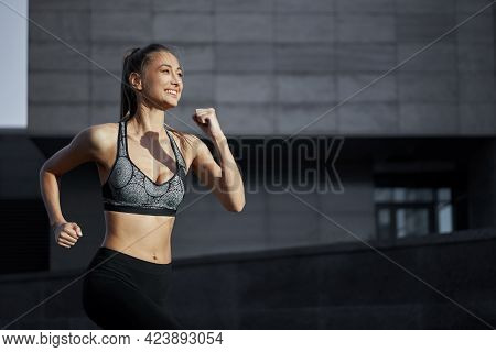 Woman Running Urban City Street Background Active Sporty Caucasian Female Morning Workout Healthy Li