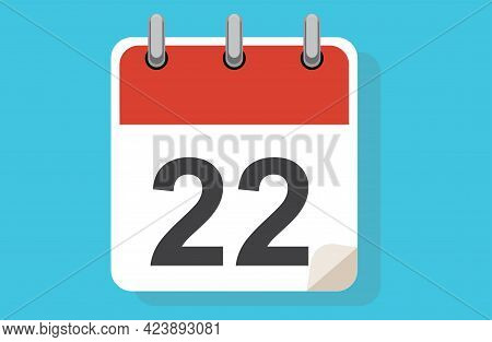 Day Twenty-two. Simple Calendar With Date 22. Flat Calendar Icon Vector Illustration. Calendar Icon