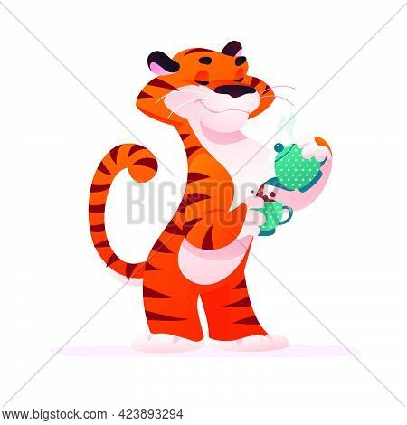 Portrait Of Funny Tiger Character With Coffee Pot And Cup In His Paws Isolated On White Background.