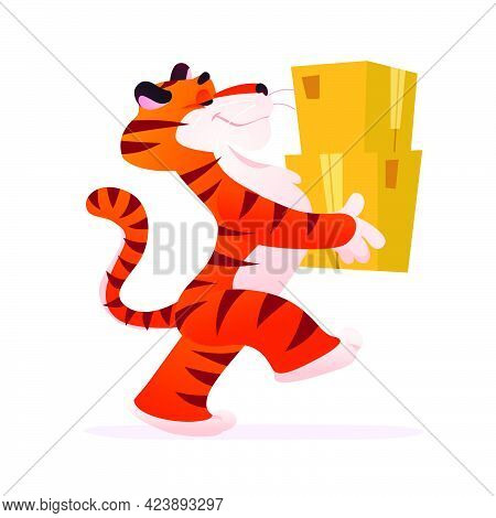 Portrait Of Funny Tiger Character Carry And Deliver Packages Boxes Isolated On White Background. Fla