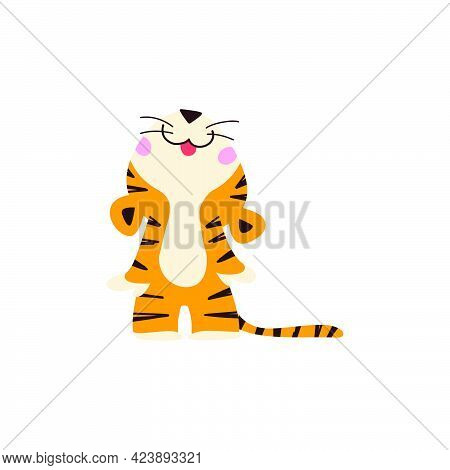 Cute Little Tiger Character Looking Up And Smiling Stand Isolated On White Background. Front View. V