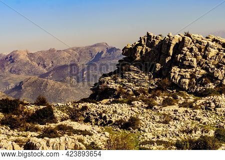 Rock Limestone Formations In Nature Reserve In The Sierra Del Torcal Mountain Range Near Antequera C