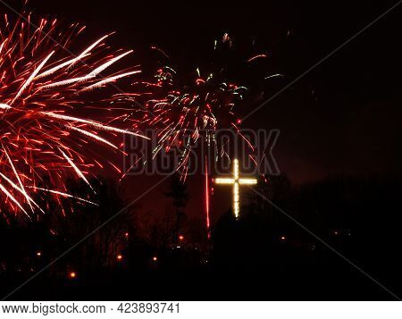 Firework Explosion In The Sky, Celebrating New Year In Gdynia City, Poland. Colorful Fireworks At Ho