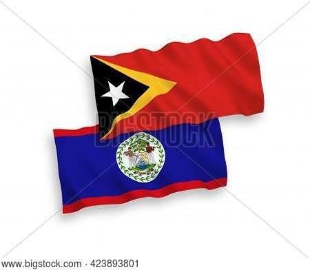 National Fabric Wave Flags Of Belize And East Timor Isolated On White Background. 1 To 2 Proportion.