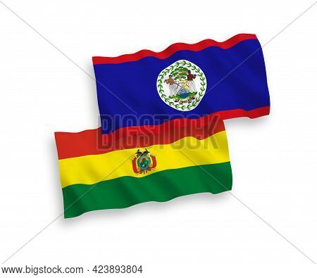 National Fabric Wave Flags Of Belize And Bolivia Isolated On White Background. 1 To 2 Proportion.