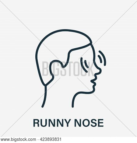 Runny Nose Line Icon. Nose Pain, Itch, Inflammation Or Ache Linear Icon. Rhinitis, Allergy Or Nasal