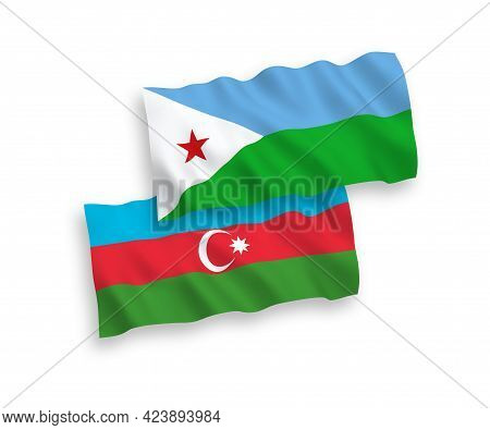 National Fabric Wave Flags Of Republic Of Djibouti And Azerbaijan Isolated On White Background. 1 To