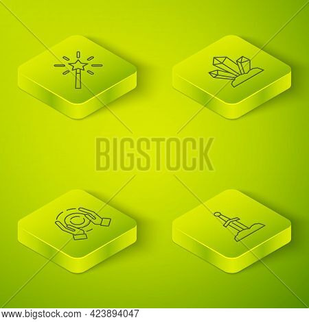 Set Isometric Line Magic Stone, Ball Hand, Sword In The And Wand Icon. Vector