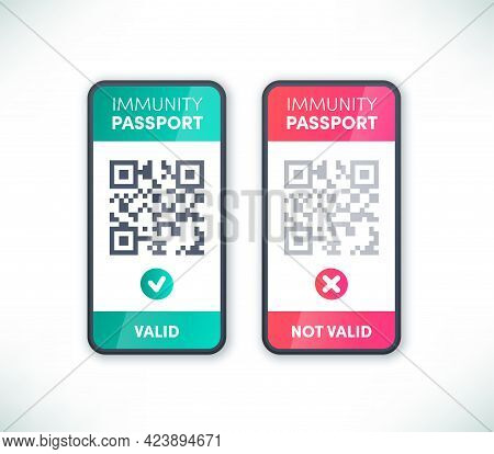 Immunity Passport Qr Code On Smartphone Screen Set Vector. Electronic Valid And Not Valid Covid-19 V